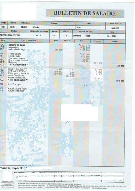 exemple de bulletin de salaire en cote d u0026 39 ivoire